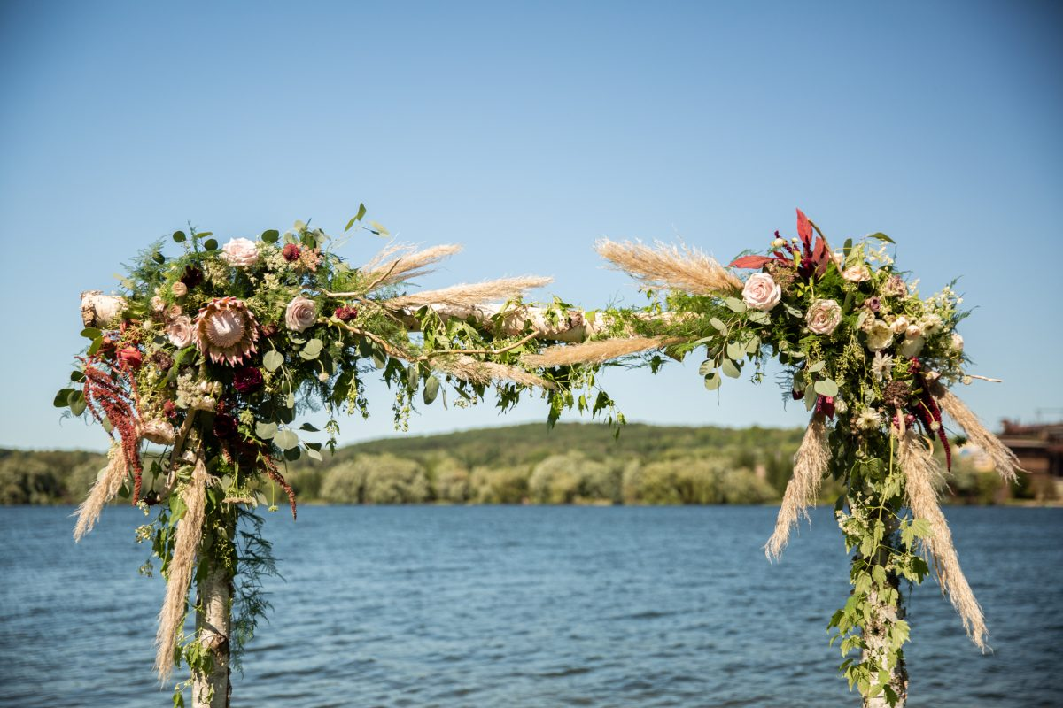 Wedding Ceremony Arch  with Boho Decor in Northern Michigan